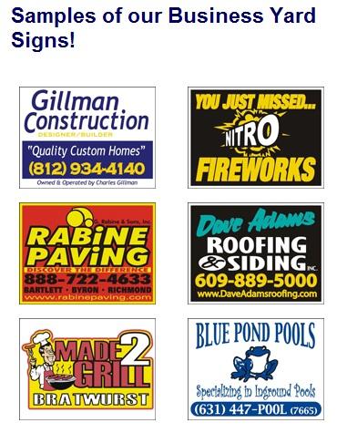 Business and Contractor Yard Signs